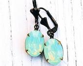 Mint Green Opal Earrings Swarovski Crystal Green Opal Small Oval Dangle Earrings Duchess Oval Mashugana