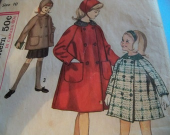 1960 Simplicity 5147 Size 10 Girls Hat and Coat in Two Lengths Coat Sewing Pattern Supply Girls Hat Pattern Mod 60s Double Breasted Coat u