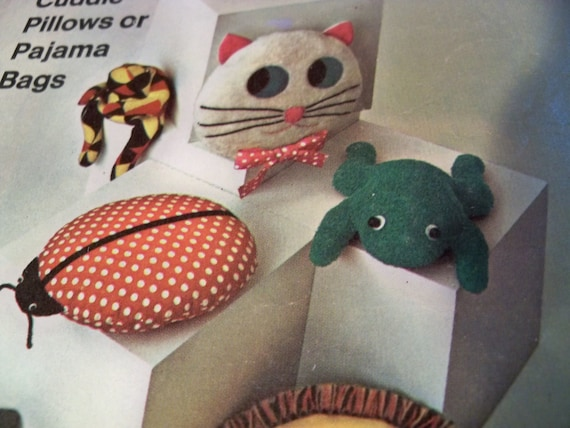 Animal Pillow That Turns Into Pajamas : 1967 Simplicity 7367 Cuddle Animal Pillows by CarolinaJayPatterns