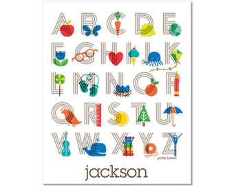 Personalized Alphabet Poster - Modern Lines