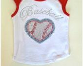 Custom Boutique Baseball Girls Top Kids Girls Tops Rhinestone Baseball Heart Top Rhinestone Baseball Girls Top Baseball Personalize shirts