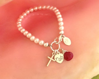 Bitty Pearl with Cross, Initial, and Birthstone, baptism gift, communion gift