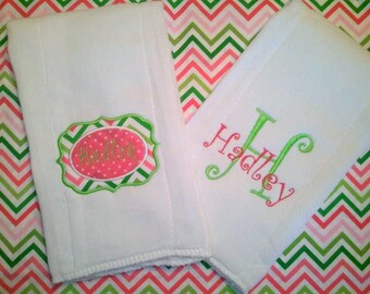Set of 2 Custom Burp Cloths- newborns, babies, baby shower gift, personalized baby gift