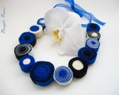 Sea Breeze - Blue White and Black Felt Necklace