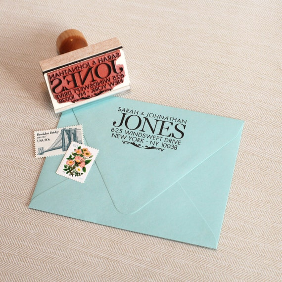 Wedding address stamp custom return address stamp for Classic housewarming gifts