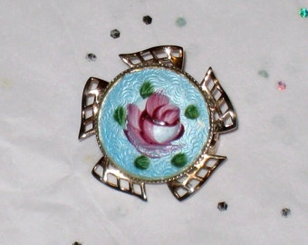 "Guilloche Enamel Rose Brooch in Gold Toned Pierced Windmill Setting, 1"" Hand Painted / FREE US Shipping"