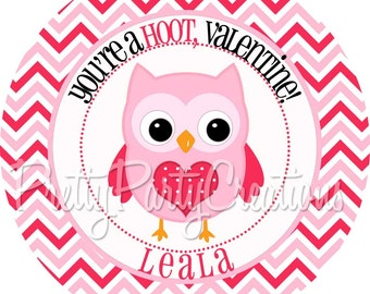 PINK OWL VALENTINE favour tags/stickers - You Print - also available printed - 3 to choose
