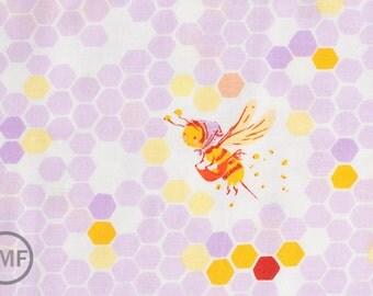 Half Yard Briar Rose Hex Bee in Lilac, Heather Ross, Windham Fabrics, 100% Cotton Fabric, 37025-2