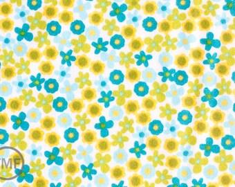 Half Yard FLANNEL Izzy Flowers in Aqua and Lime, Ann Kelle, Robert Kaufman, 100% Cotton Fabric, AAKF-11196-193