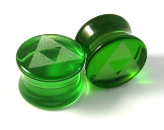 "Triforce Green Glass Plugs - PAIR - 2g (6mm) 0g (8mm) 00g (9mm) (10mm) 7/16"" (11mm) 1/2"" (13mm) 9/16""(14mm) 5/8""(16mm)+ Tri Force Ear Gauges"