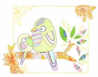 Kids Wall Art, Kids Art,  Mothers Love - Bird Print - Limited Edition 8x10 Print by Jennie Deane