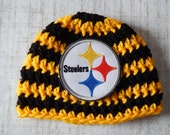 PITTSBURGH STEELERS Football 0-3 Month Baby Hat with Logo,Black Gold, Shower Gift, Cap, Beanie, Newborn Baby Boy Girl