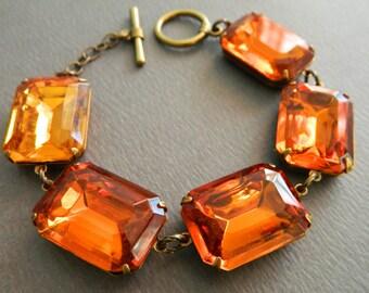 Amber Jewel Bracelet, Topaz Bracelet, Chunky Bracelet, Vintage Bracelet, Vintage Rhinestone Bracelet, Art Deco Jewelry, Statement Bracelet