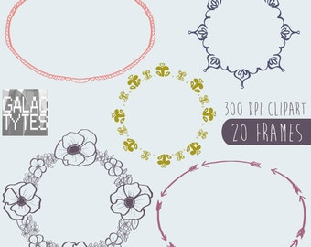 Hand Drawn Frames Clipart, .PNG files Royalty Free, Instant Download