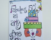50th Birthday Milestone Celebration Handmade Greeting Card