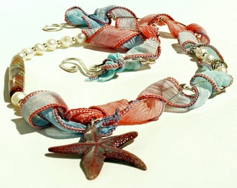 Necklace, Fairy Ribbons, Pearls and Starfish