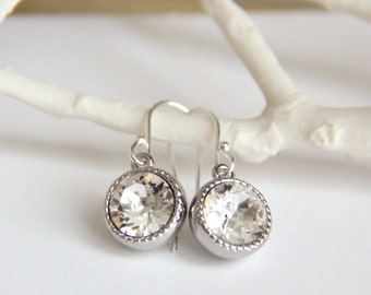 Clear Crystal Earrings with Sparkly Swarovski Crystals - Gifts for Her