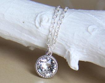 Clear Crystal Necklace with Swarovski Pendant - April Birthstone - Diamond Alternative