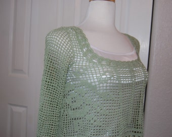 Crochet Top Rose Filet in Zen Green Bamboo Sleeveless or Sleeve Size Small