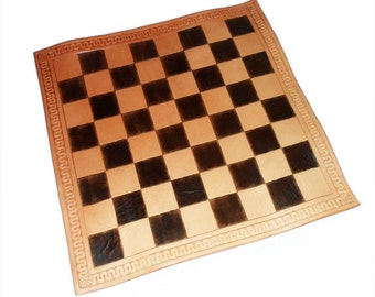 Handtooled Leather Tournament Chess Board