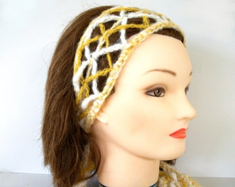 Crochet Pattern: Lacy Diamonds Hair Scarf Fashion Scarf 2 Colors Advanced Crochet Charted and Written