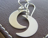 Eclipse Moon Earrings - Crescent Moon Earrings - Sterling Silver Moon Earrings