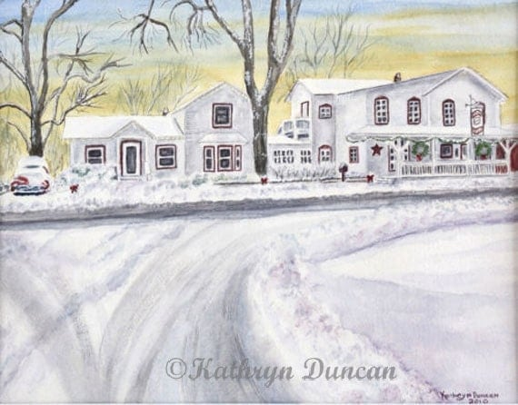 Snowy Decorated Antique Houses General Store - Giclée Print of Watercolor Painting Small Medium Large