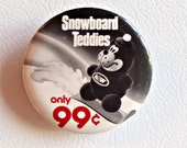Pinback Button Vintage A&W Pin Back Button 1980's Snowboard Teddies