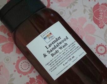 Lavender & Sandalwood Body Wash, Calms, Moisturizes Skin -  Organic Body Wash, Skin Soothing, Fragrant Body Care, Sandalwood, 4 oz./120 ml.