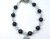 "Blue Pearl Bracelet Navy Blue Swarovski ""Pearls of Hope for Haiti"""