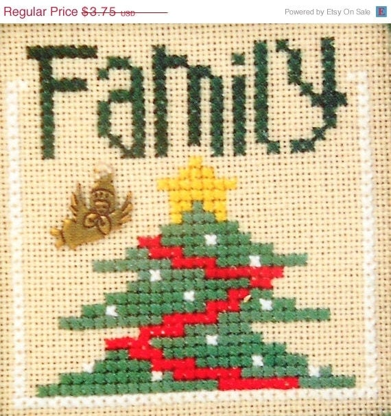 CLEARANCE Lizzie Kate Flip It CHRISTMAS BLESSINGS Family Ornament (charm not included) - Counted Cross Stitch Pattern Chart
