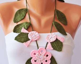 Crochet jewelry scarf , crochet necklace flower scarf