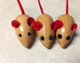 Vintage Wooden Three Blind Mice