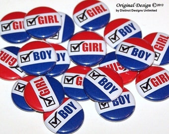"Voter Cast Your Vote Gender Reveal Party Set of 24 Buttons Baby Shower Favor 1"" or 1.5"" or 2.25"" Pin Back Button Red White Blue 1"" Magnets"