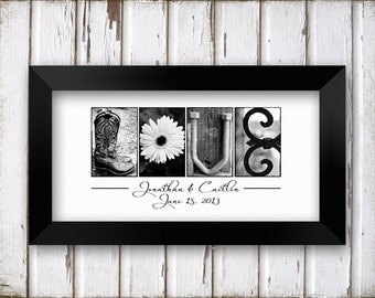 LOVE in Black and White Alphabet Photography Name Print  UNFRAMED