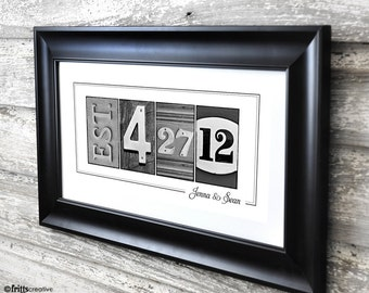 Wedding Date Print in  Alphabet Photography 10x20 Print UNFRAMED, frame your date, photo numbers and dates