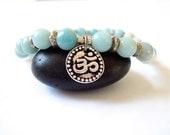 Om Yoga Bracelet, Amazonite, Silver Charm, Yoga or Meditation