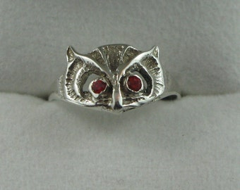 Owl Sterling Silver Ring