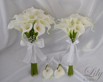 "Bride/MoH Bouquets Groom/Best man Boutonnieres Wedding Bridal Bouquet Real Touch Calla Lily White - More Colors""Lily of Angeles"" CAIV03"