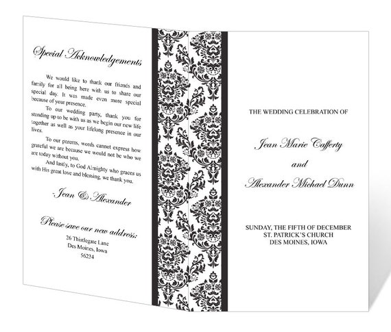Free Printable Wedding Program Templates: Wedding Program Template Printable INSTANT DOWNLOAD Damask