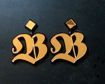 Large Custom Letter Stud Earrings Old English Font (Laser Cut Acrylic)