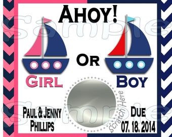 Gender Reveal scratch off cards Nautical Baby Pregnancy announcement cards gender announcement cards Baby boy Baby girl favors 12 Printed