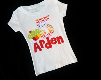 Girl, toddler, baby personalized birthday number / initial and name applique SHIRT, rainbow chevron red, yellow, blue, cupcake sizes NB - 16
