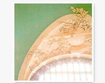 Travel Photo New York Photography, NYC Grand Central ceiling, Grand Central Terminal Windows,travel art, new york city art print, mint green