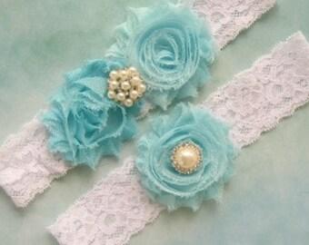 Wedding Garter, Garter, Toss Garter  Aqua Rose, White with Rhinestones and Pearls  Custom Wedding colors