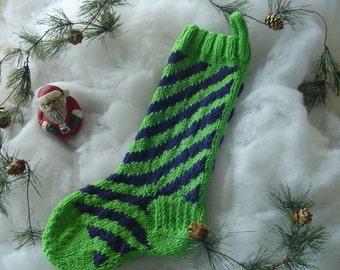 Christmas  Stocking, Seattle Seahawks Stocking, Christmas Present, Candy Cane Striped Christmas Stocking, Hand Knit Stocking, Handmade