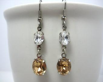 Swarovski Crystal Rhinestone Light Colorado Topaz Earrings Set in Silver Settings