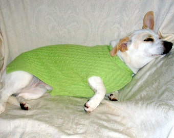 Custom handmade cotton cable knit dachshund sweater apple green pets clothing