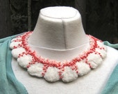 FELTED NECKLACE Hand Needle Felted Wool Collar Choker Embroidered Beaded