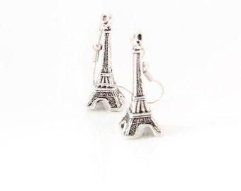 Antique Silver Eiffel Tower  Earrings. Eiffel Tower Dangle Earrings. Dangly Paris Earrings